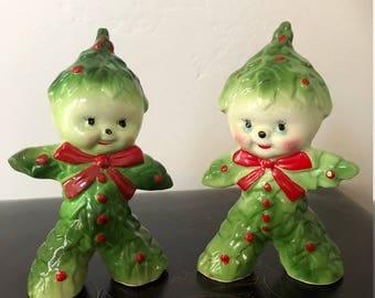 Vintage Kreiss Holy Christmas Tree Pixie Salt & Pepper Shakers