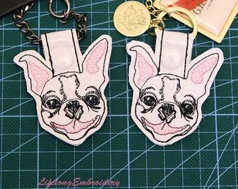 Machine Embroidery Boston Terrier Key Fob Design. Digital Key Fob Boston Terrier Design. Dog Key Fob