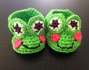 Frog Newborn Baby Booties