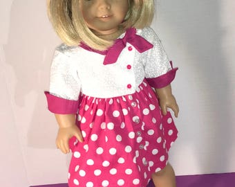 "Vintage Side tie collar dress to fit 18"" dolls such as American Girl, Maplelea, My Life etc"
