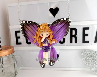 Reserved necklace articulated with polymer clay Purple Butterfly Fairy