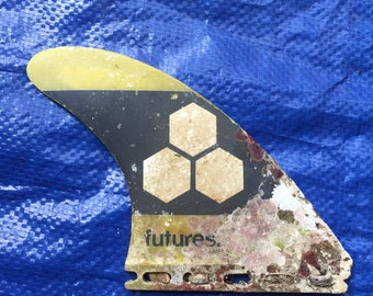 Surfboard fin for art wall decoration vintage beach collage barnacle ocean find