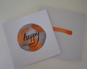 Custom Birthday Card (Watercolour Circle)