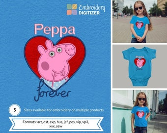 Peppa Pig Heart Applique Embroidery Design