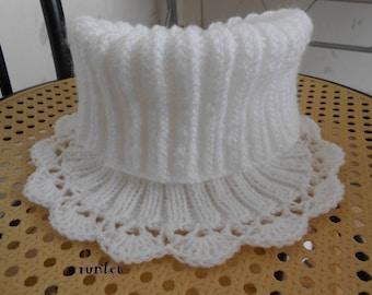white wool SNOOD Scarf