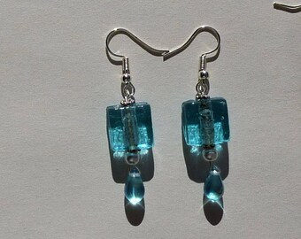 Earrings turquoise silver foil glass beads