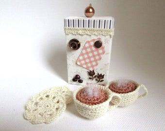 "box ""a little ' little coffee?"" with ecru crochet cups"