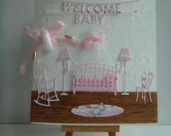Card Kit make birth announcement nursery girl to make you even