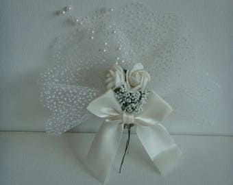 Kit magnetic pin on snowy white tulle with lavender to make you even wedding bouquet