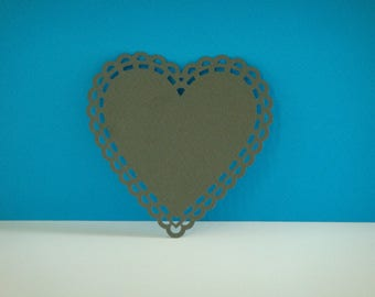 Cut out heart with grey ornament for creation