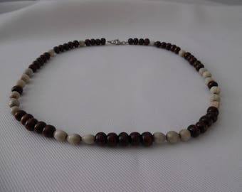 Brown and Gray man necklace, wooden beads and seeds.
