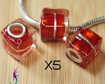 5 European pandora style orange lampwork glass cube pendant charms