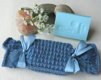Case pouch scent - wool - color blue - handmade soap - ocean breeze scent - Handknitted - beauty Hygiene man gift