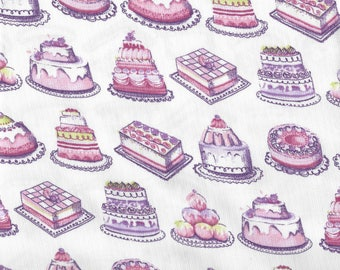 Fabric cake decorations pink and white Poplin