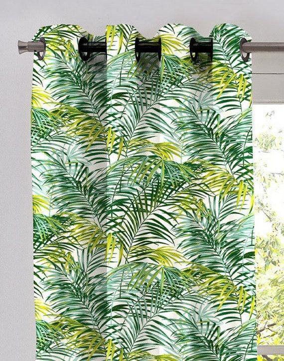 rideau pr ts poser oeillets feuillages exotiques palm. Black Bedroom Furniture Sets. Home Design Ideas