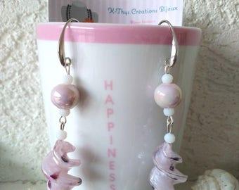 Earrings made Murano glass beads, ceramic beads of Jade