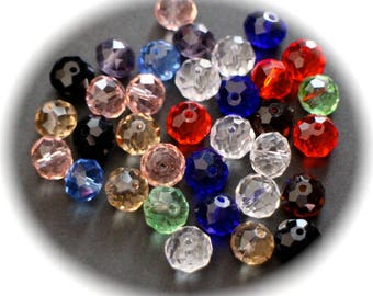 10 round to FACETED glass 10 mm mixed color beads