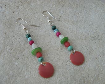 Enamelled sequin coral earrings