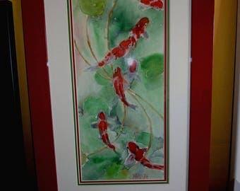 watercolor of koi, carp Japanese quality