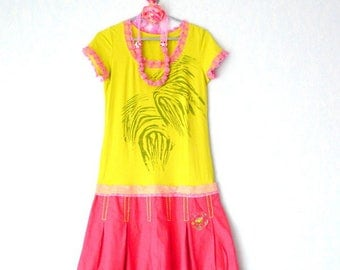 Bohemian dress chic short sleeve, recycled dress women size M - 40