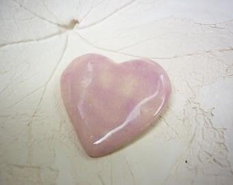 pink heart pin ceramic sculpted, handmade romantic, sweet heart pink pastel tender feelings
