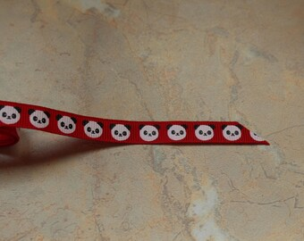 "Red Ribbon printed with ""panda"", 10mm"