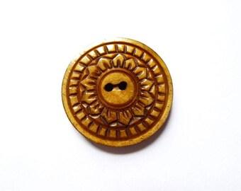 LIMITED rare round engraved Nepal flower 32mm beige bone button