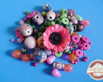 123 ethnic pink green flower ceramic glass beads