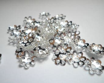 20 bead caps 8 mm silver metal filigree flowers