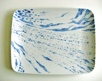 Serving dish, porcelain blue white abstract decor, trendy, hand painted. Mothers day gift. Piece