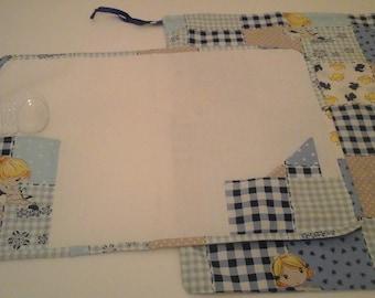 set kindergarten, school, place mat and bag in blue and light blue