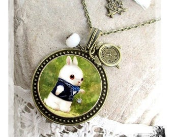 Alice jewels, alice jewelry , Alice in wonderland necklace, white rabbit, bronze fancy jewelry-Alice's rabbit-alice adventures in wonderland
