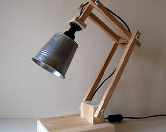 Lampe de bureau Design en bois naturel et métal - Modèle unique