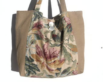 Fall leaves printed linen handbag