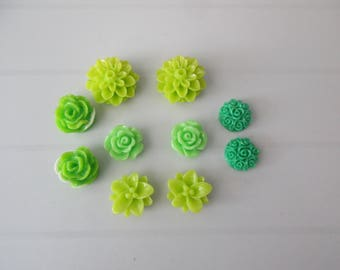 10 resin cabochons flowers to paste green color
