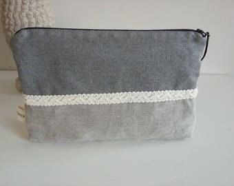 Linen pouch, grey, Bohemian