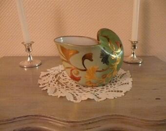 Hand painted porcelain vase: Ginkgo biloba, gold leaves on green background