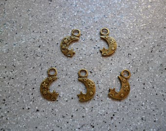 5 charms moons metal bronze 0.7 x 15 mm