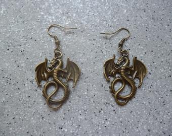 Earrings Dragons Metal bronze