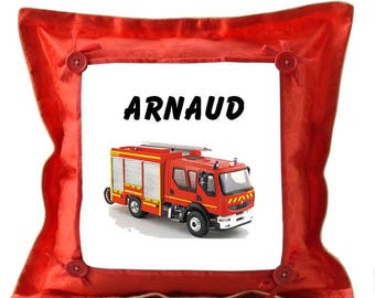 Red fire truck personalized with name cushion