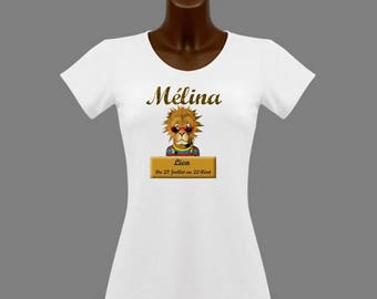 T-shirt women white astrological Leo personalized with name