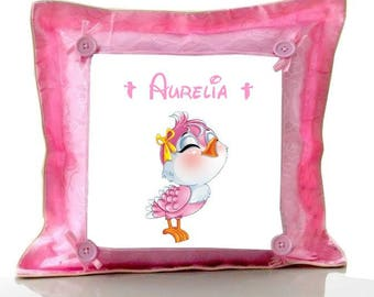 Cushion pink bird personalized with name