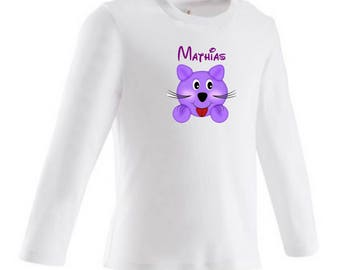 tee shirt baby kitten purple personalized with name