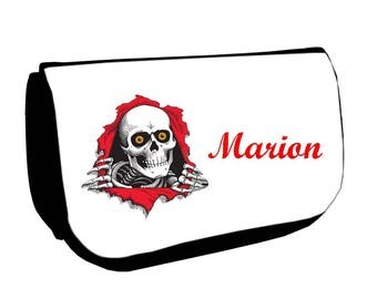 Black make-up case /crayons skull personalized with name