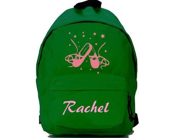Backpack green ballet shoes personalized with name
