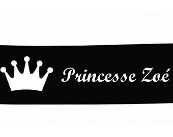 Black baby headband Crown personalized with name