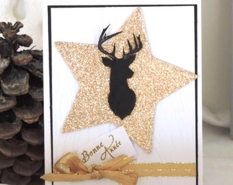 "card ""Happy new year"" white and shiny with glitter star"
