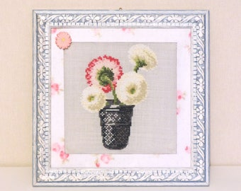 Frame embroidery, spring, shabby decoration.  Hand made