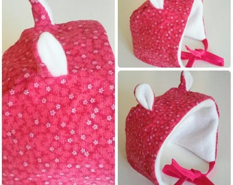 Fleece hat with ears 0-3 months baby pink raspberry