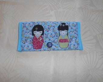 protects checkbook and cards - blue kokeshi range